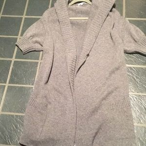 Vince gray wool/cashmere long hooded sweater XS